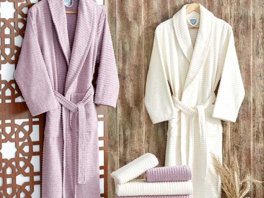 Sıla Lux Family Bathrobe Set Pink White